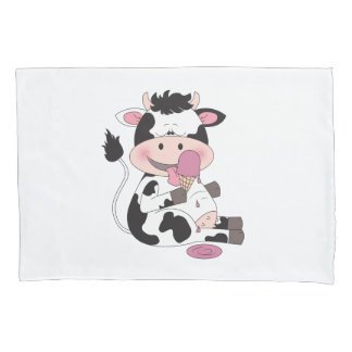 Cute Baby Cow Cartoon With His Favorite Treat Pillowcase