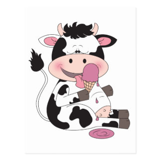 Cute Baby Cow Cartoon With His Favorite Treat Postcard