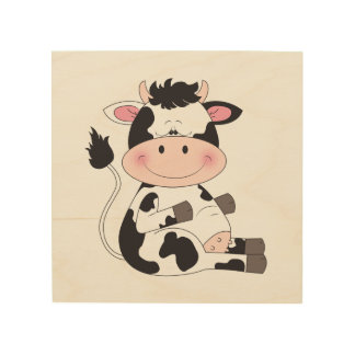 Cute Baby Cow Cartoon Wood Canvases