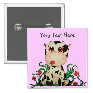Cute Baby Cow Customizable Button