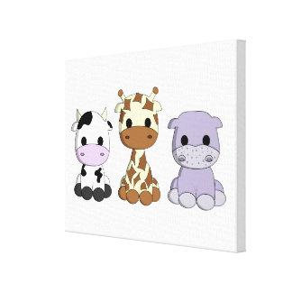 Cute baby cow giraffe hippo cartoon kids canvas print