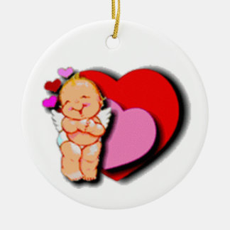 Cute Baby Cupid With Hearts Christmas Ornaments