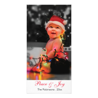 "Cute Baby Custom Text 8"" x 4"" Christmas Photocard Personalized Photo Card"