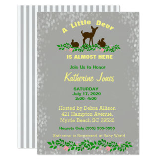 Cute Baby Deer Baby Shower Invitation (Neutral )