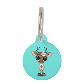 Cute Baby Deer Hippie Pet Name Tag