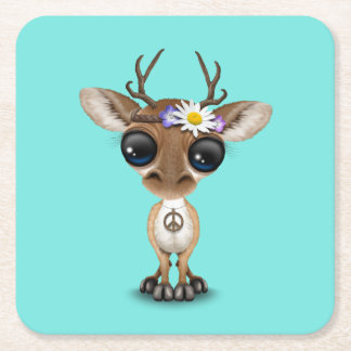 Cute Baby Deer Hippie Square Paper Coaster