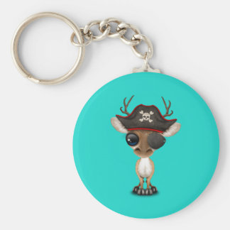 Cute Baby Deer Pirate Basic Round Button Key Ring