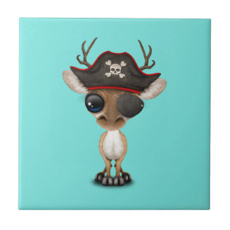 Cute Baby Deer Pirate Small Square Tile