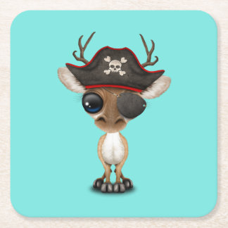 Cute Baby Deer Pirate Square Paper Coaster