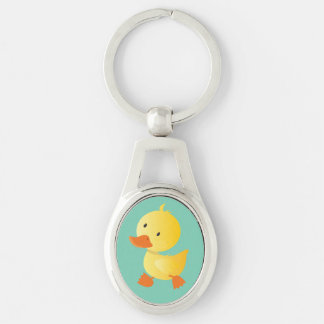 Cute Baby Duck Silver-Colored Oval Key Ring