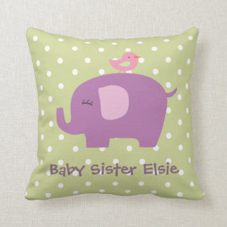 Cute Baby Elephant and Bird Personalised Pillow