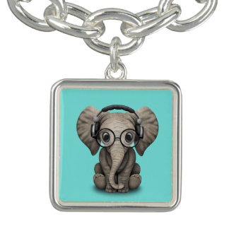 Cute Baby Elephant Dj Wearing Headphones and Glass