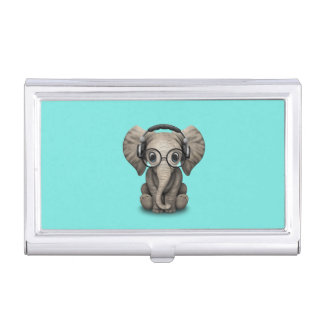 Cute Baby Elephant Dj Wearing Headphones and Glass Business Card Holder