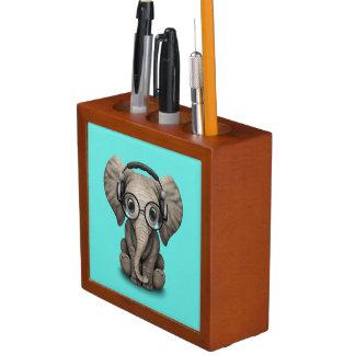 Cute Baby Elephant Dj Wearing Headphones and Glass Desk Organiser
