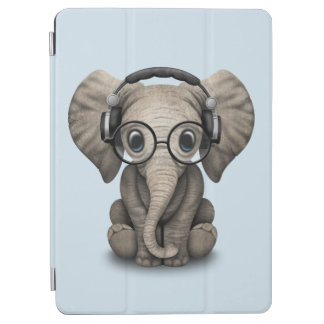 Cute Baby Elephant Dj Wearing Headphones and Glass iPad Air Cover