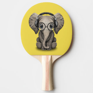 Cute Baby Elephant Dj Wearing Headphones and Glass Ping Pong Paddle