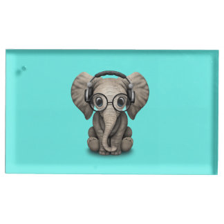 Cute Baby Elephant Dj Wearing Headphones and Glass Table Number Holder