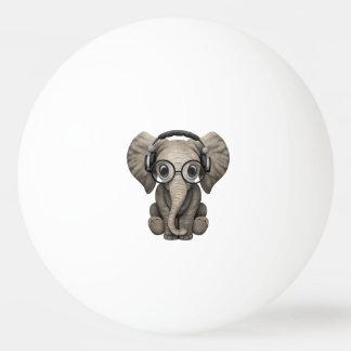 Cute Baby Elephant Dj Wearing Headphones Ping Pong Ball