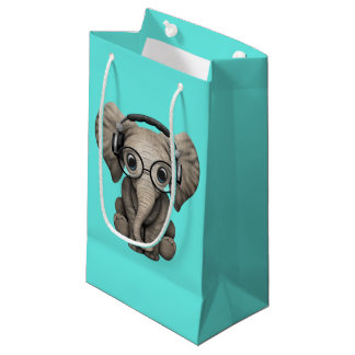Cute Baby Elephant Dj Wearing Headphones Small Gift Bag