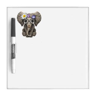 Cute Baby Elephant Hippie Dry Erase Board