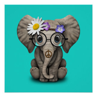 Cute Baby Elephant Hippie Poster