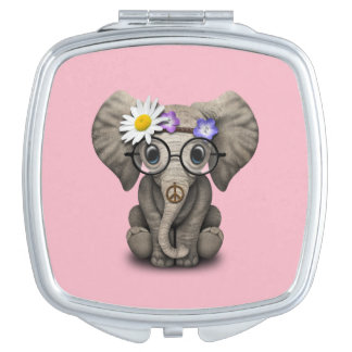 Cute Baby Elephant Hippie Travel Mirror
