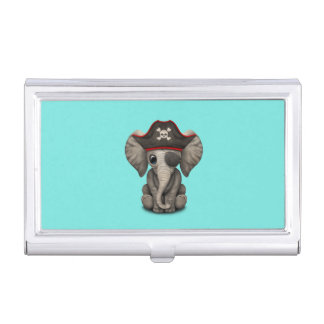 Cute Baby Elephant Pirate Business Card Case