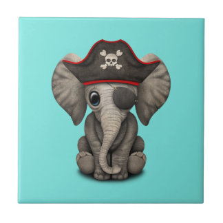 Cute Baby Elephant Pirate Ceramic Tile
