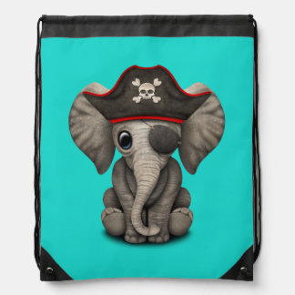 Cute Baby Elephant Pirate Drawstring Bag