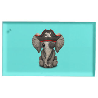 Cute Baby Elephant Pirate Place Card Holder