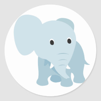 Cute Baby Elephant Round Stickers