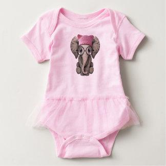 Cute Baby Elephant Wearing Pussy Hat Baby Bodysuit