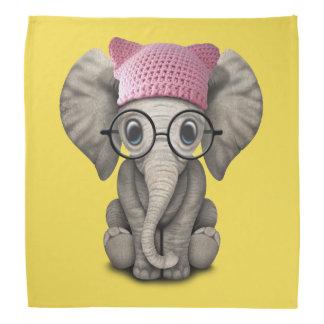 Cute Baby Elephant Wearing Pussy Hat Bandana