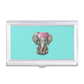 Cute Baby Elephant Wearing Pussy Hat Business Card Holder