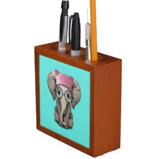 Cute Baby Elephant Wearing Pussy Hat Desk Organiser