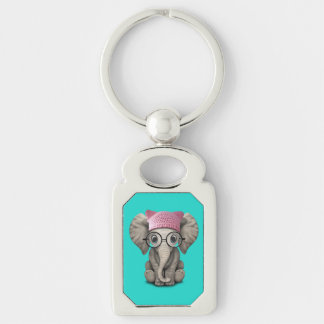 Cute Baby Elephant Wearing Pussy Hat Key Ring