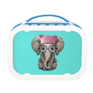 Cute Baby Elephant Wearing Pussy Hat Lunch Box