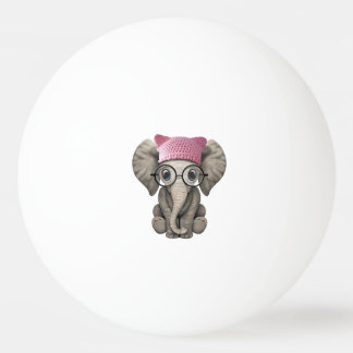 Cute Baby Elephant Wearing Pussy Hat Ping Pong Ball