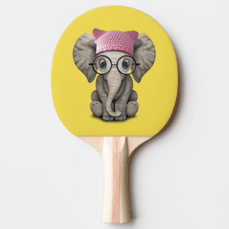 Cute Baby Elephant Wearing Pussy Hat Ping Pong Paddle