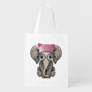 Cute Baby Elephant Wearing Pussy Hat Reusable Grocery Bag