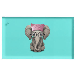 Cute Baby Elephant Wearing Pussy Hat Table Card Holder