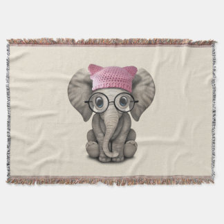 Cute Baby Elephant Wearing Pussy Hat Throw Blanket
