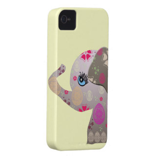Cute baby elephant with pattern iPhone 4 Case-Mate case