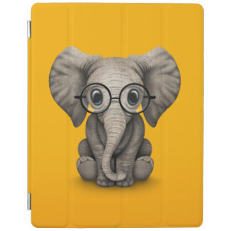 Cute Baby Elephant with Reading Glasses Yellow iPad Cover