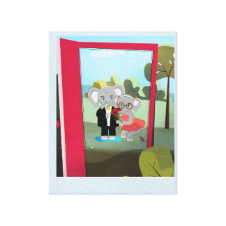 Cute baby elephants in a red doorway canvas print