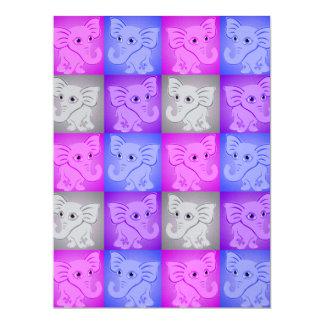 Cute Baby Elephants Soft Colors Pattern Custom Invites