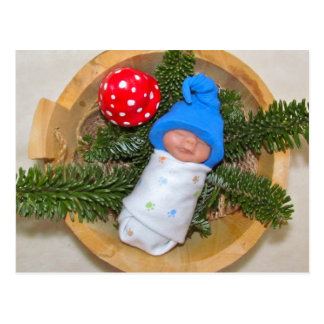 Cute Baby Elf on Pine with Toadstool: Polymer Clay Postcard