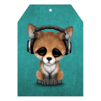 Cute Baby Fox Dj Wearing Headphones on Blue 13 Cm X 18 Cm Invitation Card