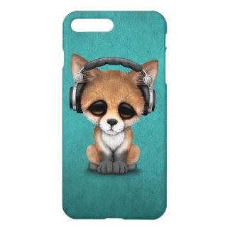 Cute Baby Fox Dj Wearing Headphones on Blue iPhone 7 Plus Case
