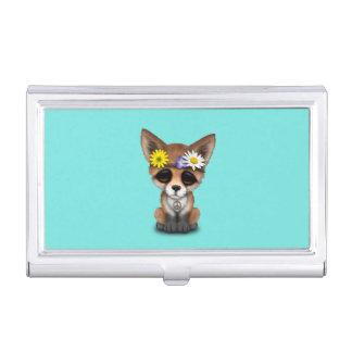 Cute Baby Fox Hippie Business Card Holder